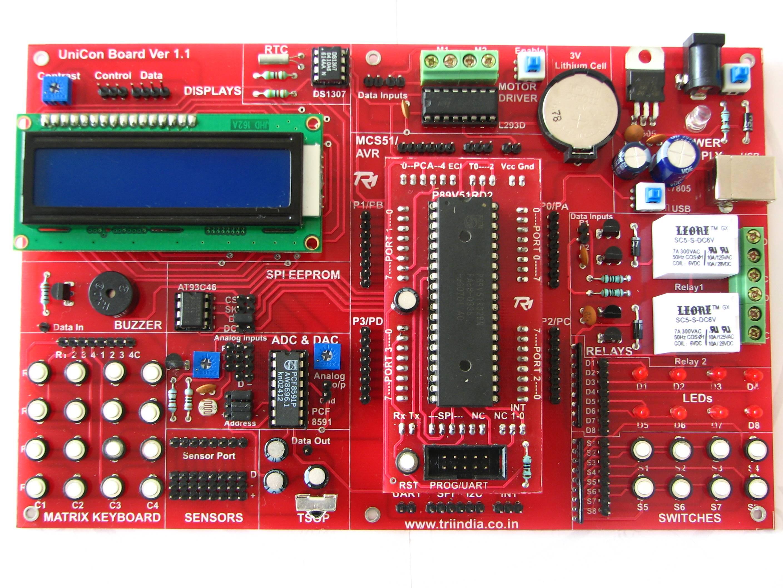 Unicon Universal Controller Board Iroboticist Atmel Chip8051 Programmeratmel Programmer Circuitatmel Indias First Microcontroller Trainer Which Supports All Three Major Series Msc51 Avr