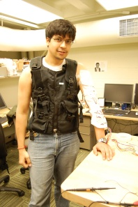 Me testing the TN Game's 3rd Space gaming vest while also testing the effects of Peltier on my Arm